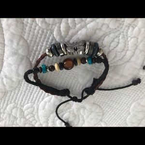 Jewelry - Two Stackable Urban Leather and Bead Bracelets